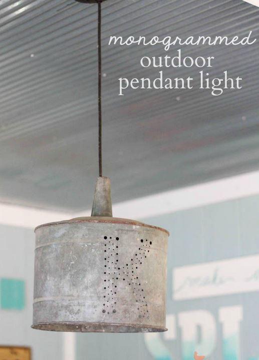 Monogrammed pendant light