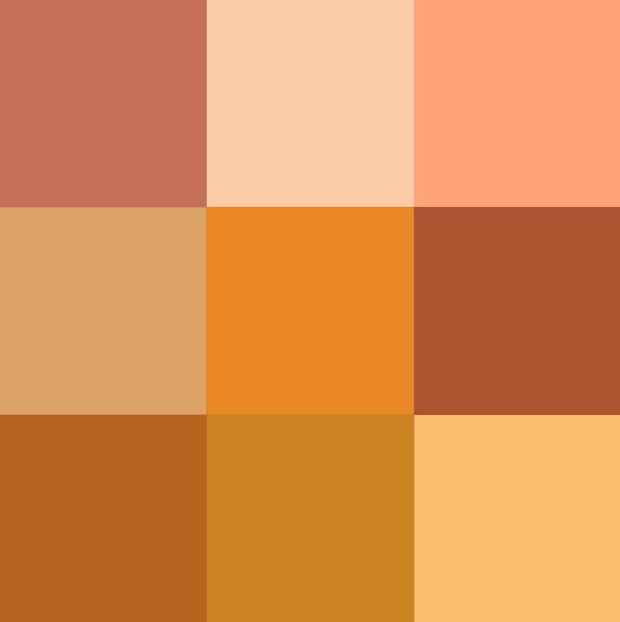 Orange color pallet, lighter steampunk color palettes